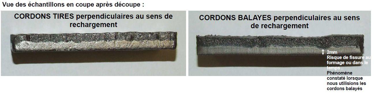 Tôle anti-usure Duraplate cordons tirés vs cordons-balayés