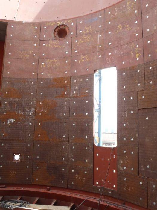 Blindage de silo Dursteel 410 anti abrasion cimenterie