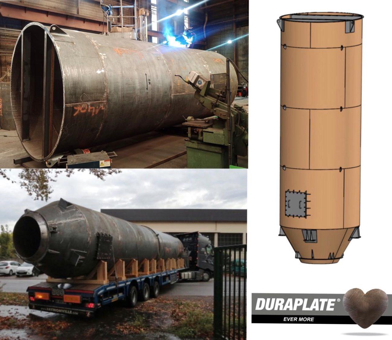 Fabrication de 4 Silos à calcin entièrement en acier rechargé Duraplate D31 dans nos ateliers